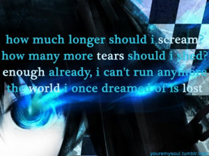 anime, black rock shooter, lyrics, quote, song, text