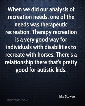 recreation needs, one of the needs was therapeutic recreation. Therapy ...