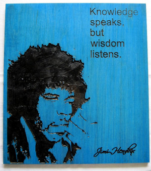 Jimi Hendrix Handmade Wood Carving Wall art quote