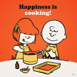 Happiness is cooking.