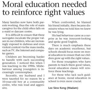 Moral Education Needed To Reinforce Right Values - Keratan Akhbar