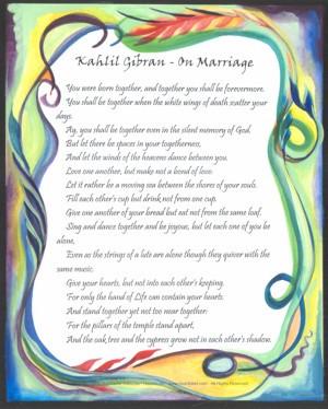Marriage Poster Kahlil Gibran