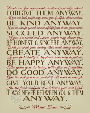 Mother Teresa Do It Anyway Quote - INSTANT DOWNLOAD Printable Charity ...