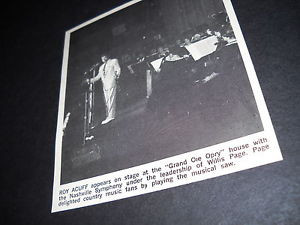 ROY ACUFF on stage at Grand Ole Opry w WILLIS PAGE 1967 PROMO ONLY