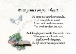 Pet loss sympathy card Paw prints on your heart for dog ,cat