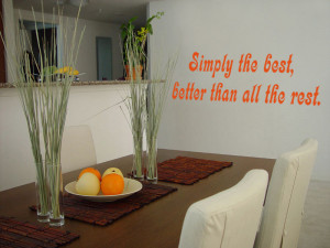 Orange Simply The Best (Tina Turner) Lyric wall decal in a dining room
