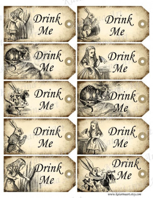 ... http://www.etsy.com/listing/96930656/drink-me-tags-alice-in-wonderland