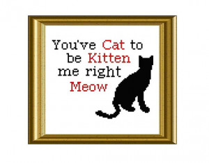 Funny Cat Quote Counted Cross Stitch Pattern PDF Instant Download