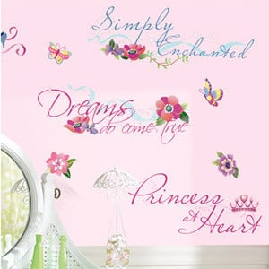 Disney Princess Quotes Wall Decals with Glitter