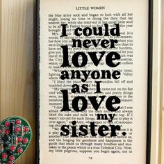 Little Women gift for sisters quote on Vintage Book by BookishlyUK. I ...