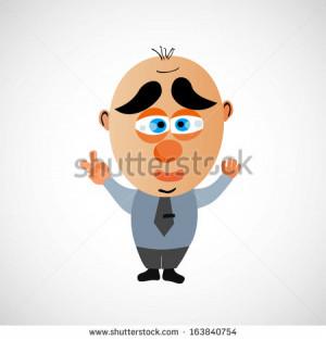 Funny vector cartoon businessman. Big bald head and cute eyebrows. On ...