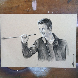 Drawing of Grant Gustin as Barry Allen aka Flash in