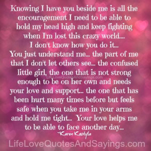 Knowing I Have You Beside Me ..
