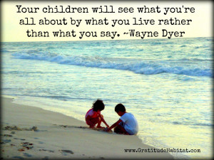 Kids on beach with Wayne Dyer quote