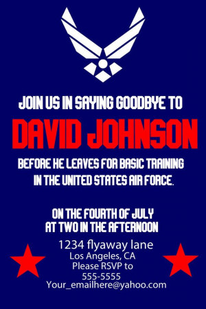 Air Force Party invite. Deployment, leaving for basic training ...