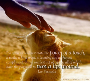 Too often we underestimate the power of a touch, a smile, a kind word ...
