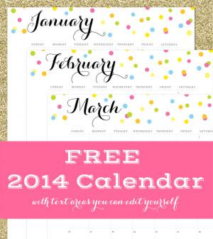 Free Calendar With Editable