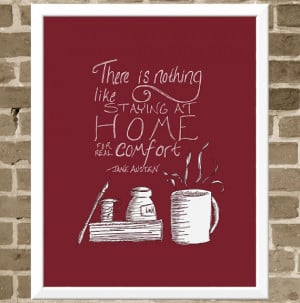 Jane Austen Quote - 11x14 Berry Red Quote Print - Coffee Mug and Book ...