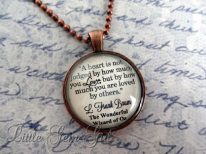 Wizard of Oz Book Quote Antique Copper Necklace - Oz Heart Quote ...
