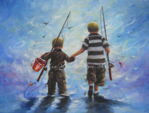... Fishing Original Oil Painting boys room fishing paintings two brothers