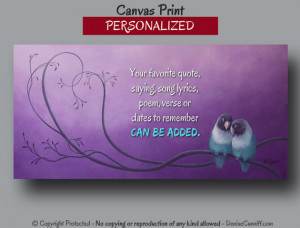 ... Lovebirds wedding art, Personalized canvas wall quote, Orchid bathroom
