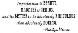 ... IMPERFECTION IS BEAUTY ~ Wall Quote Decal Home Decor Marilyn Monroe