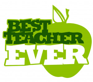 Best Teacher Ever Precut Wafer Card Cupcake Toppers In Green