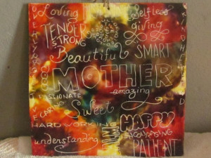 Typography Mother Quotes Encaustic Wax Art Painting Free Shipping