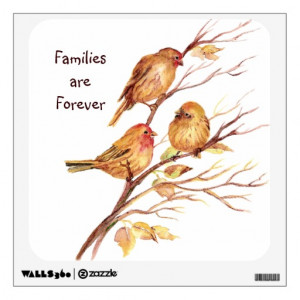 Families Forever Quote Cute Sparrow Bird Family Wall Decal
