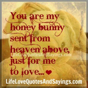 You are my honey bunny sent from heaven above, just for me to love.