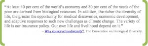 Quote from convention on biodiversity saying At least 40 percent of ...