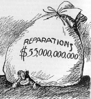US poster from 1921 comments on the unrealistic reparations figure