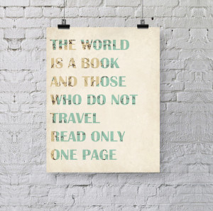 Indie Art Quotes Travel quote vintage map art