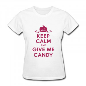 Women T shirt Halloween Keep Calm and Give Me Candy Funny Quote ...