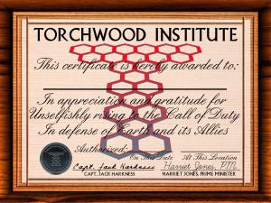 Torchwood Certificate of Appreciation
