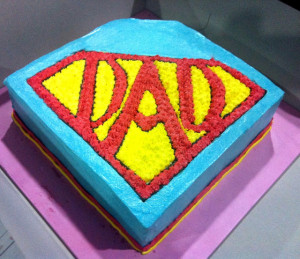 super dad vanilla cake for a fathers day celebration in school