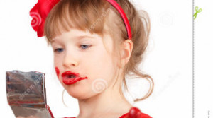 Little Funny Girl With Red Lipstick Stock Photo - Image: 23880370