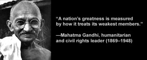 Mahatma Gandhi, humanitarian and civil rights leader (1869–1948), in ...