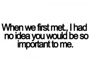 ... Had No Idea You Would be so Important to Me ~ Being In Love Quote