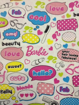... Doll Hair Makeup Shoes Clothes Quotes Cotton Fabric Quilt Fabric QT102