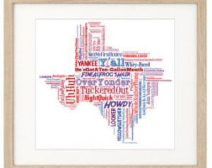 TEXAS SAYINGS PRINT- Funny Art Texas Slang Phrases. Unique Unusual ...