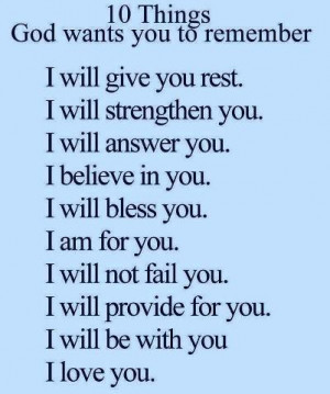 10 Things God wants you to remember...