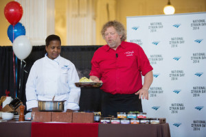 Tom Douglas Chef Paulette Starlwood L and Chef Tom Douglas cook on
