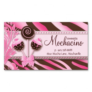cake pops business card with fun retro zebra print great for any ...