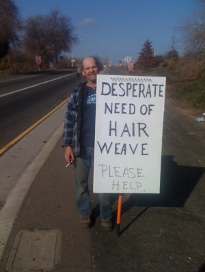 funny homeless sign