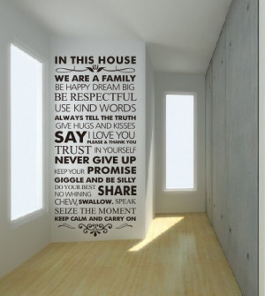 words wall sticker - cheap wall decal - House Rules quote wall sticker