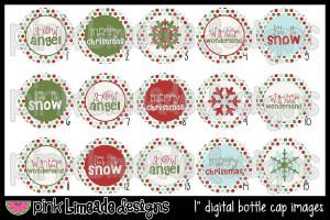 Snow Angel - Cute Christmas/Winter Sayings - 1 inch Digital Bottle Cap ...