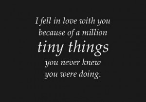 feel love with you because of a million tiny things