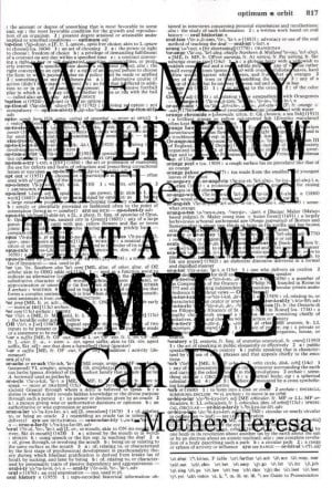 Smile Mother Teresa Quote Upcycled by MapleTreeProductions, $8.00