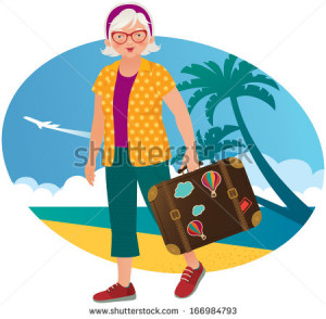 stock-vector-active-leisure-in-the-elderly-elderly-lady-travels ...